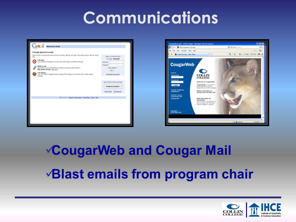 Communications CougarWeb and Cougar Mail Blast emails from program chair