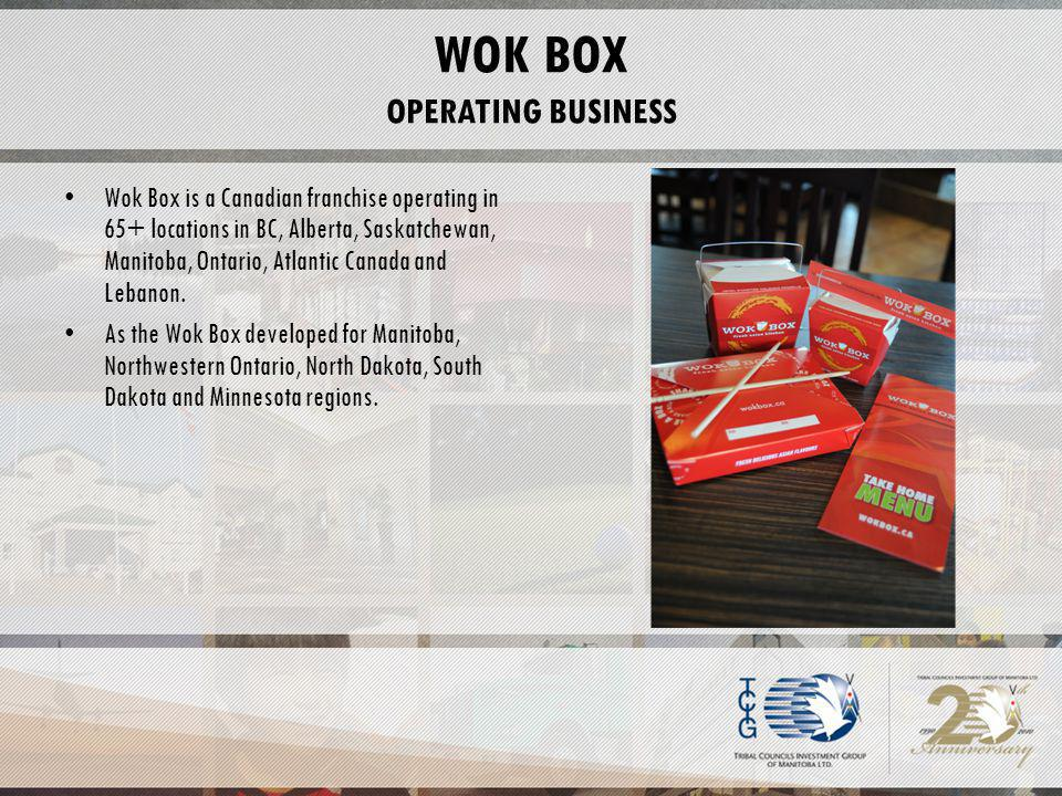 WOK BOX OPERATING BUSINESS Wok Box is a Canadian franchise operating in 65+ locations in BC, Alberta, Saskatchewan, Manitoba, Ontario, Atlantic Canada and Lebanon.