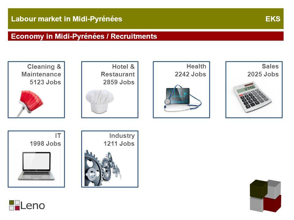 Labour market in Midi-Pyrénées EKS Economy in Midi-Pyrénées / Recruitments Cleaning & Maintenance 5123 Jobs Hotel & Restaurant 2859 Jobs Sales 2025 Jo