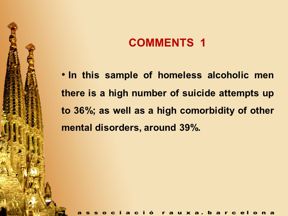 COMMENTS 1 In this sample of homeless alcoholic men there is a high number of suicide attempts up to 36%; as well as a high comorbidity of other mental disorders, around 39%.