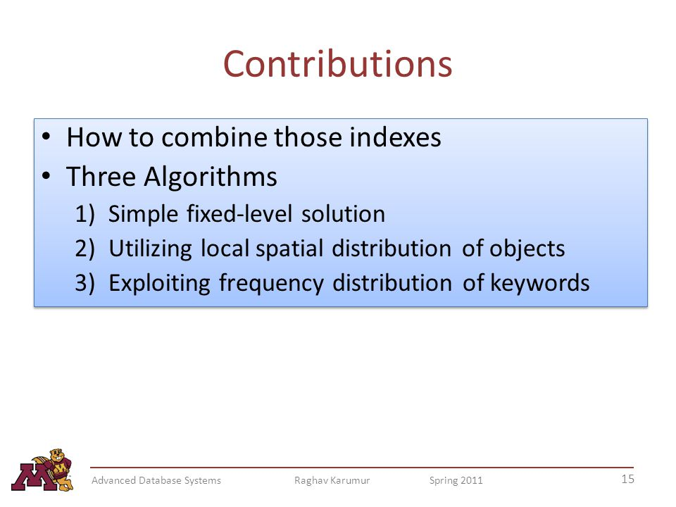 Contributions How to combine those indexes Three Algorithms 1)Simple fixed-level solution 2)Utilizing local spatial distribution of objects 3)Exploiting frequency distribution of keywords How to combine those indexes Three Algorithms 1)Simple fixed-level solution 2)Utilizing local spatial distribution of objects 3)Exploiting frequency distribution of keywords 15 Advanced Database Systems Raghav Karumur Spring 2011