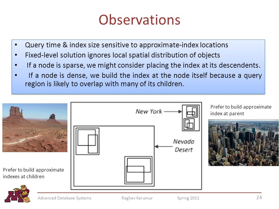 Observations Query time & index size sensitive to approximate-index locations Fixed-level solution ignores local spatial distribution of objects If a node is sparse, we might consider placing the index at its descendents.