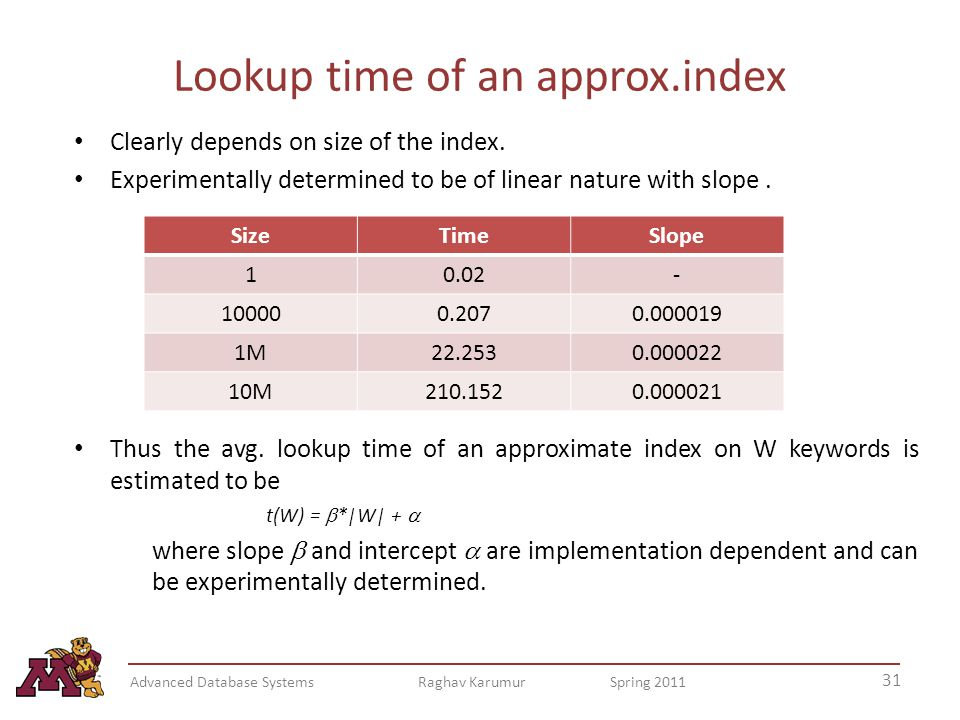 Lookup time of an approx.index Clearly depends on size of the index.