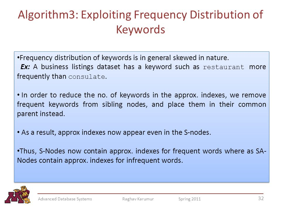 Algorithm3: Exploiting Frequency Distribution of Keywords 32 Advanced Database Systems Raghav Karumur Spring 2011 Frequency distribution of keywords is in general skewed in nature.