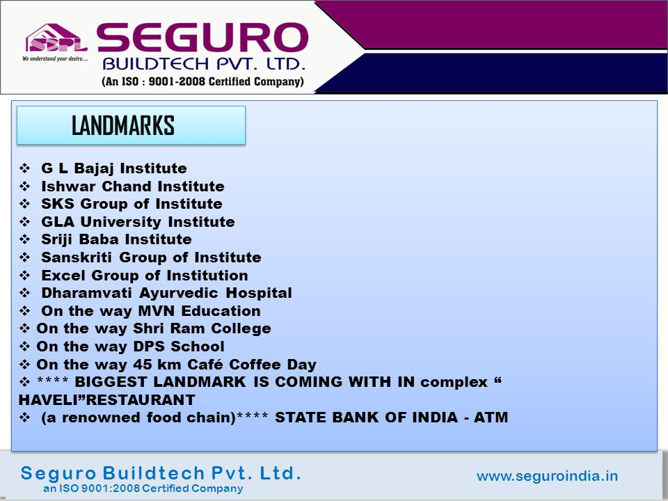 www.seguroindia.in Seguro Buildtech Pvt. Ltd.