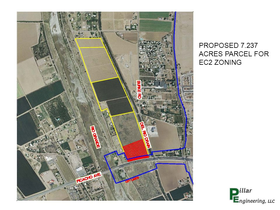 7.237 ACRES PROPOSED ZONING EC-2 PROPOSED USES COMMERCIAL – RESTAURANT, OFFICE SPACE, SMALL RETAIL PROPOSED MAIN ACCESS FROM PICACHO AVE USING EXISTING MEDIAN CUTS ONLY ONE ACCESS DRIVEWAY ONTO PICACHO AVE REQUIRED ROADWAY IMPROVEMENTS TO PICACHO AVE.