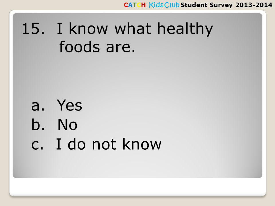 15. I know what healthy foods are. a. Yes b. No c.