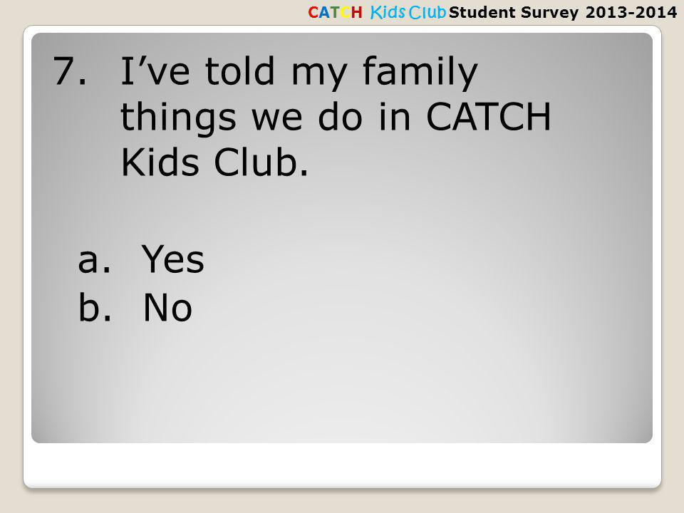 7.Ive told my family things we do in CATCH Kids Club.