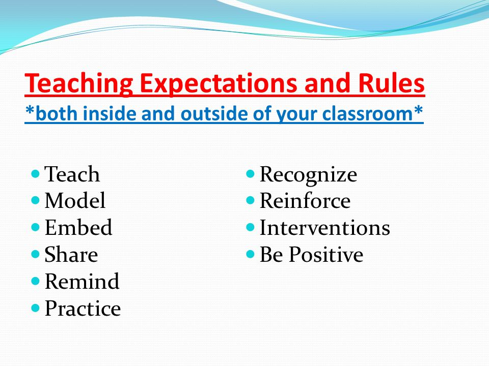Teaching Expectations and Rules *both inside and outside of your classroom* Teach Model Embed Share Remind Practice Recognize Reinforce Interventions Be Positive