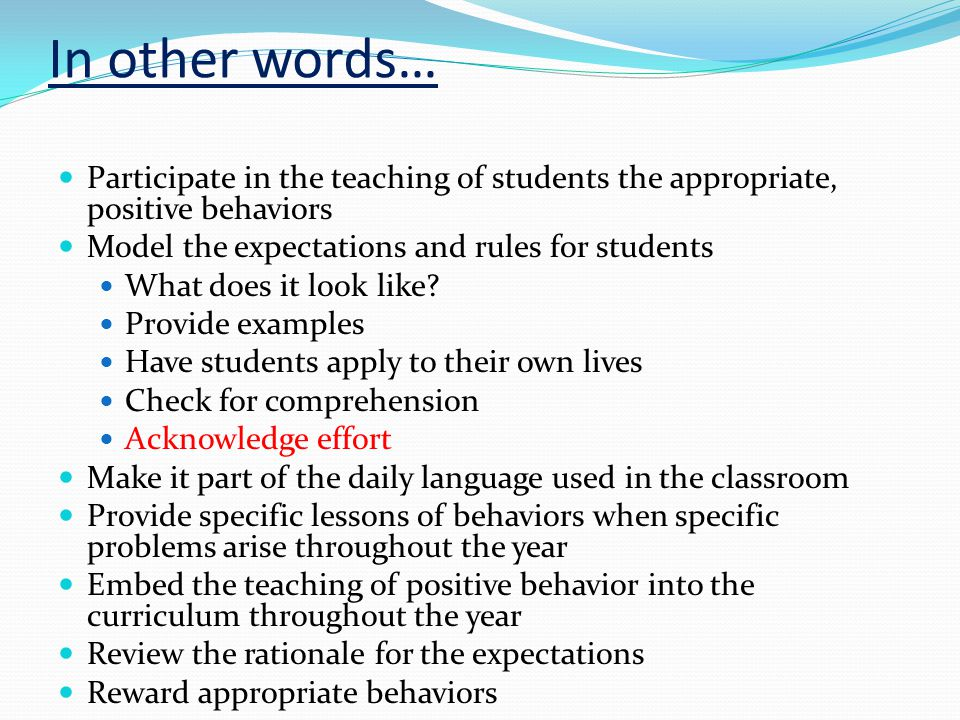 In other words… Participate in the teaching of students the appropriate, positive behaviors Model the expectations and rules for students What does it look like.