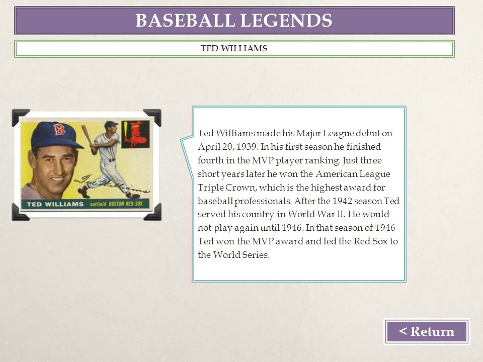 BASEBALL LEGENDS TED WILLIAMS Ted Williams made his Major League debut on April 20, 1939.