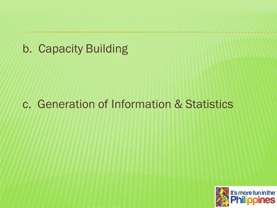 b. Capacity Building c. Generation of Information & Statistics