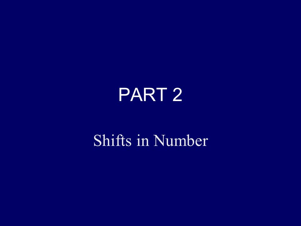 PART 2 Shifts in Number