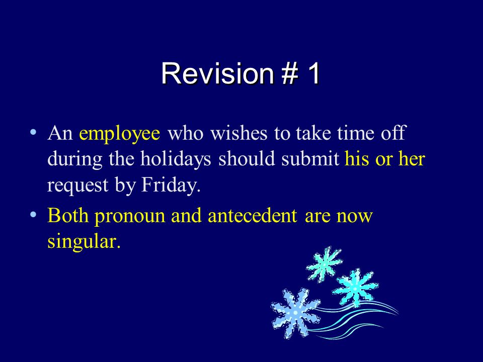 Revision # 1 An employee who wishes to take time off during the holidays should submit his or her request by Friday.