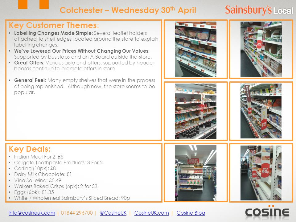 Key Customer Themes : Labelling Changes Made Simple : Several leaflet holders attached to shelf edges located around the store to explain labelling changes.
