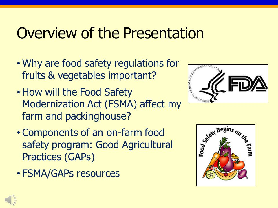 Overview of the Presentation Why are food safety regulations for fruits & vegetables important.
