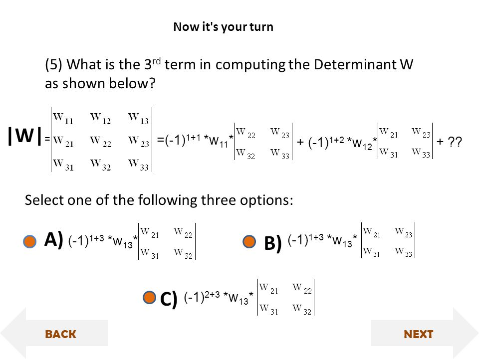 (-1) 1+3 *w 13 * |W| = (5) What is the 3 rd term in computing the Determinant W as shown below.