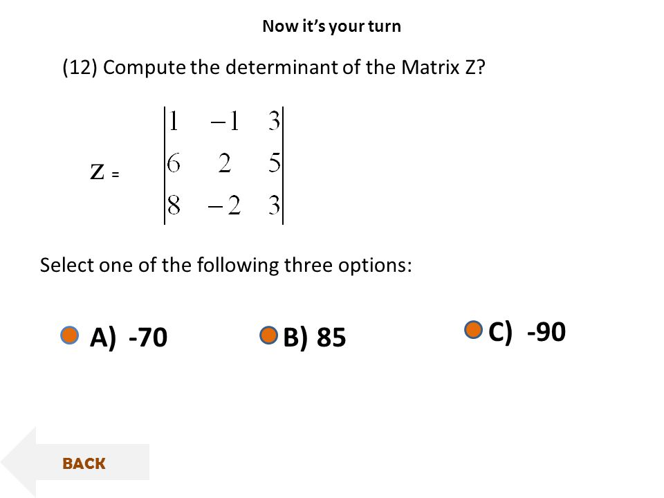 z =z = (12) Compute the determinant of the Matrix Z.