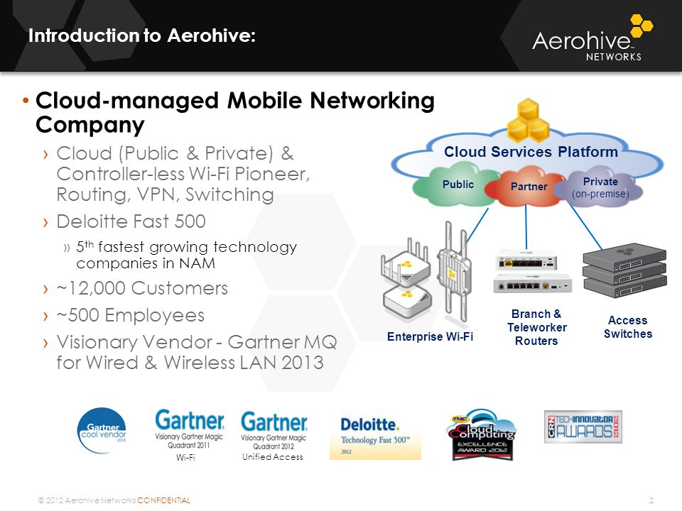 © 2012 Aerohive Networks CONFIDENTIAL Introduction to Aerohive: 2 Cloud-managed Mobile Networking Company Cloud (Public & Private) & Controller-less W