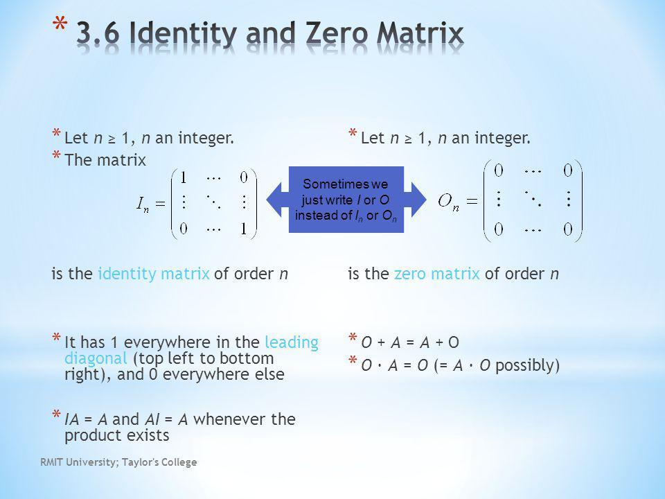 RMIT University; Taylor s College * Let n 1, n an integer.