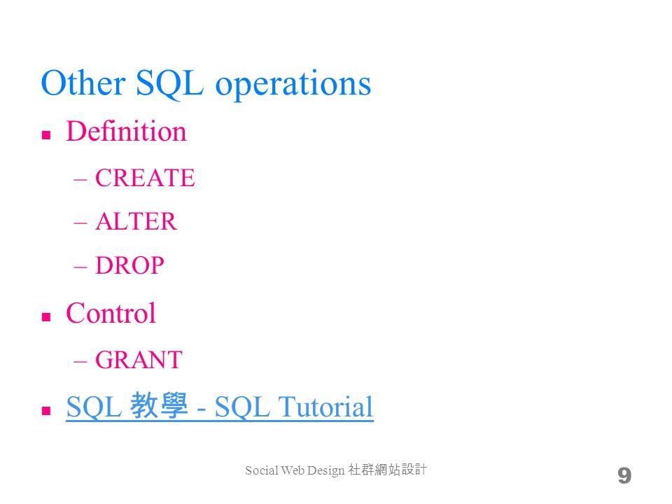 Database technologies Storage (B+ tree)Schema (normalization)SQL phpMyAdminOther apps Social Web Design 10