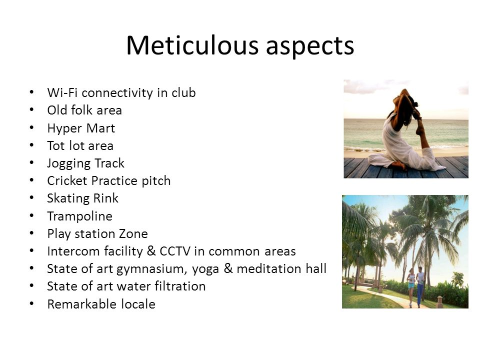 Meticulous aspects Wi-Fi connectivity in club Old folk area Hyper Mart Tot lot area Jogging Track Cricket Practice pitch Skating Rink Trampoline Play station Zone Intercom facility & CCTV in common areas State of art gymnasium, yoga & meditation hall State of art water filtration Remarkable locale