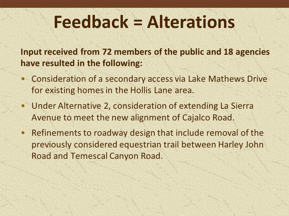 Modified Alternatives