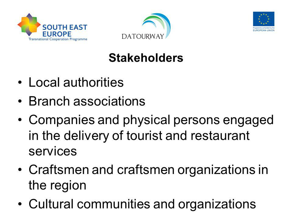 Stakeholders Local authorities Branch associations Companies and physical persons engaged in the delivery of tourist and restaurant services Craftsmen