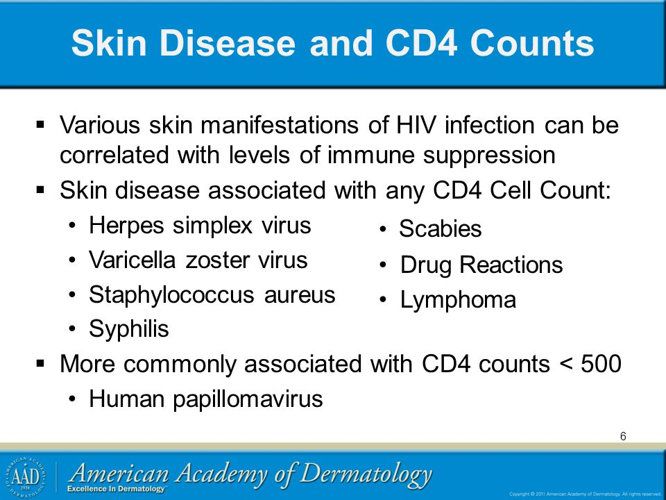 Skin Disease and CD4 Counts Various skin manifestations of HIV infection can be correlated with levels of immune suppression Skin disease associated w