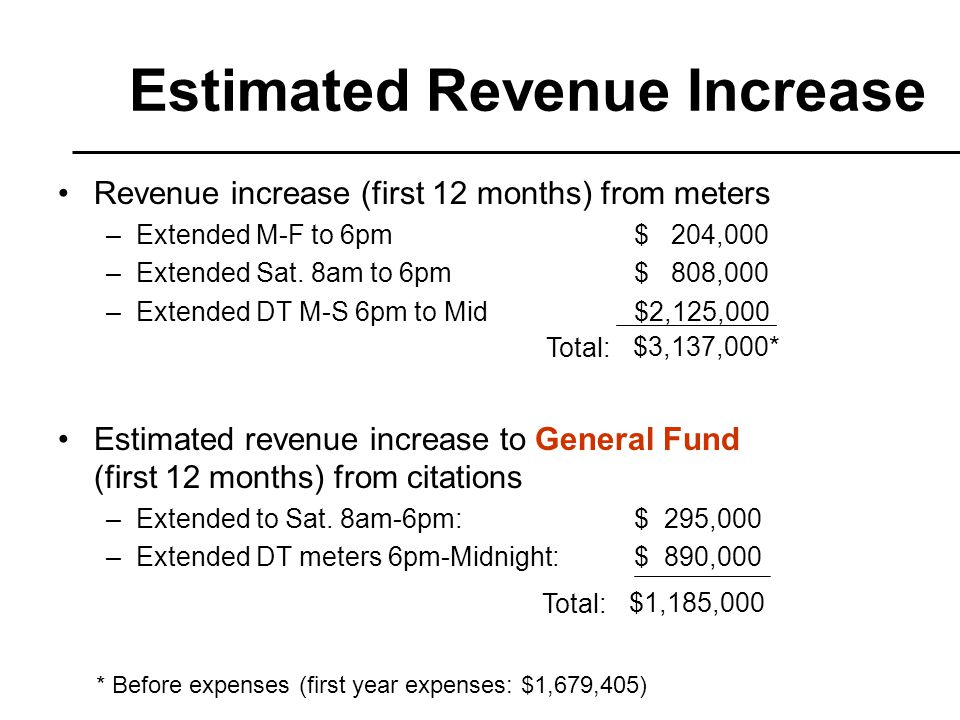 Revenue increase (first 12 months) from meters –Extended M-F to 6pm$ 204,000 –Extended Sat.