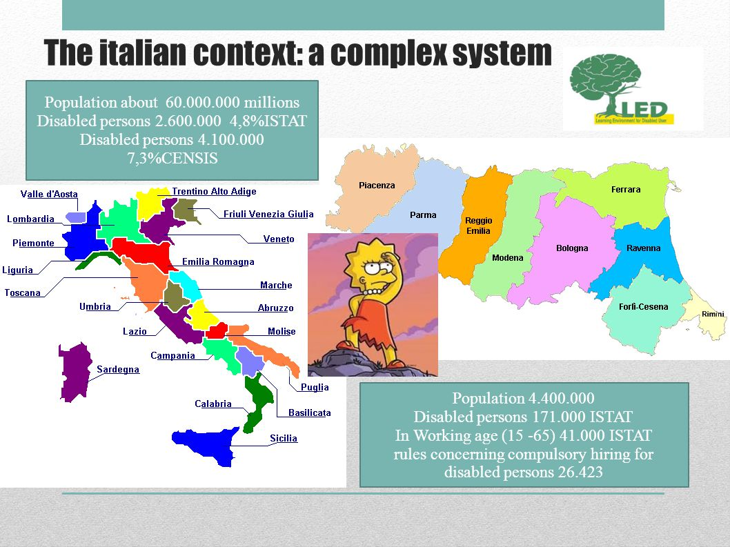 The italian context: a complex system Population about 60.000.000 millions Disabled persons 2.600.000 4,8%ISTAT Disabled persons 4.100.000 7,3%CENSIS Population 4.400.000 Disabled persons 171.000 ISTAT In Working age (15 -65) 41.000 ISTAT rules concerning compulsory hiring for disabled persons 26.423
