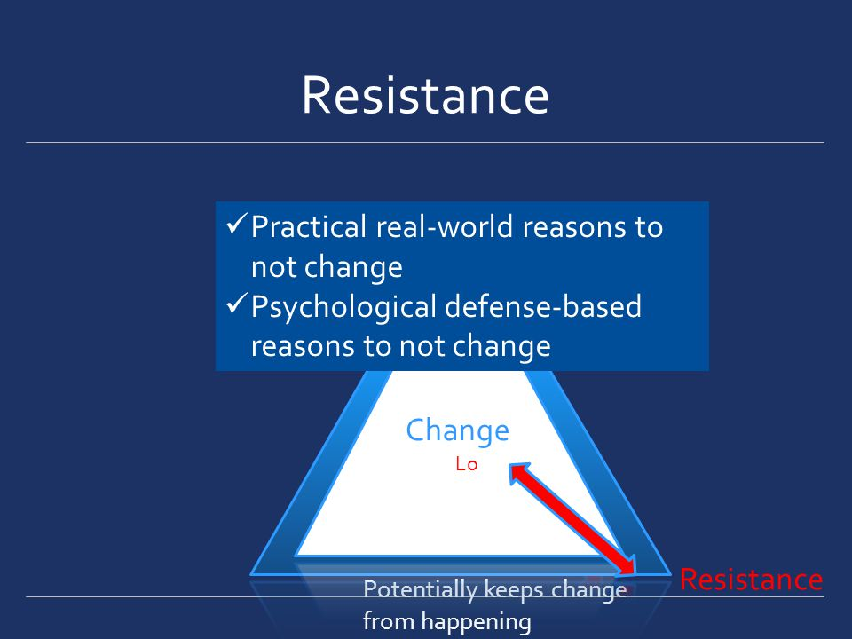 Change hi Hi Potentially keeps change from happening LOLO Change Lo Practical real-world reasons to not change Psychological defense-based reasons to not change