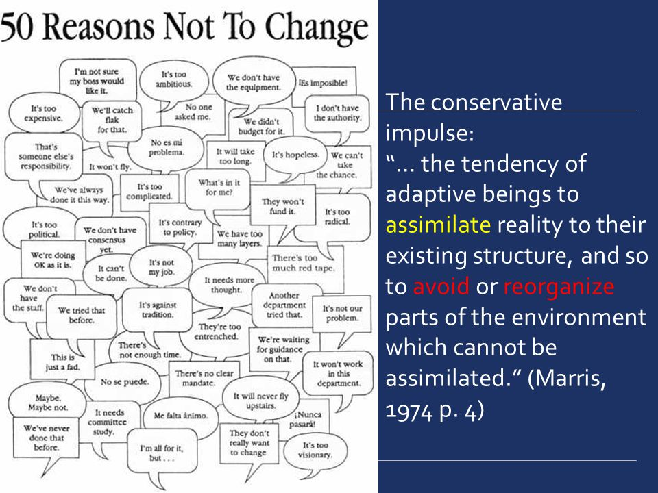 The conservative impulse: … the tendency of adaptive beings to assimilate reality to their existing structure, and so to avoid or reorganize parts of the environment which cannot be assimilated.