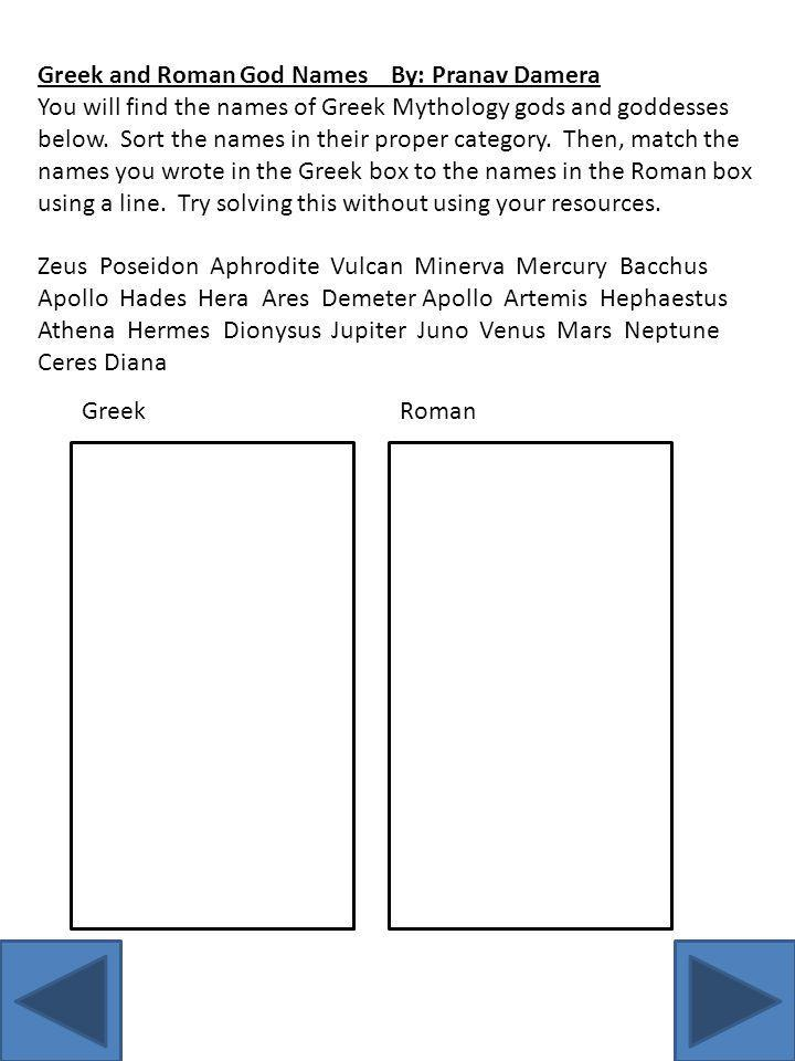 Greek and Roman God Names By: Pranav Damera You will find the names of Greek Mythology gods and goddesses below.