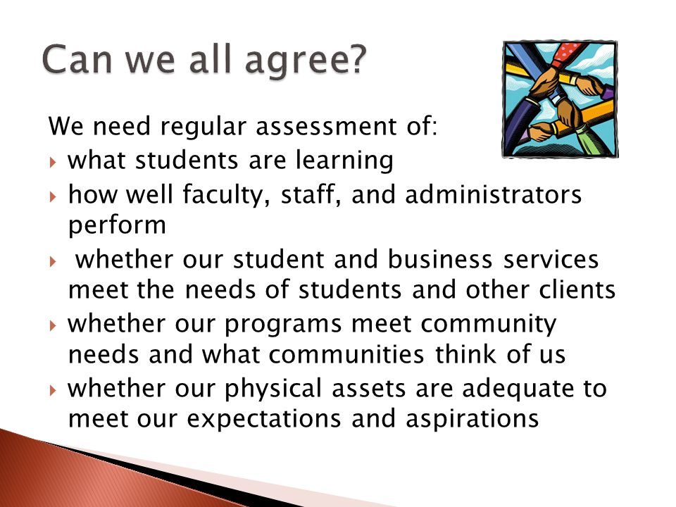 We need regular assessment of: what students are learning how well faculty, staff, and administrators perform whether our student and business services meet the needs of students and other clients whether our programs meet community needs and what communities think of us whether our physical assets are adequate to meet our expectations and aspirations
