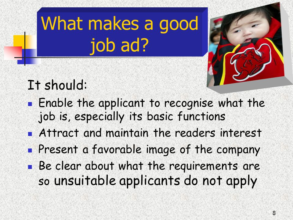 8 What makes a good job ad.