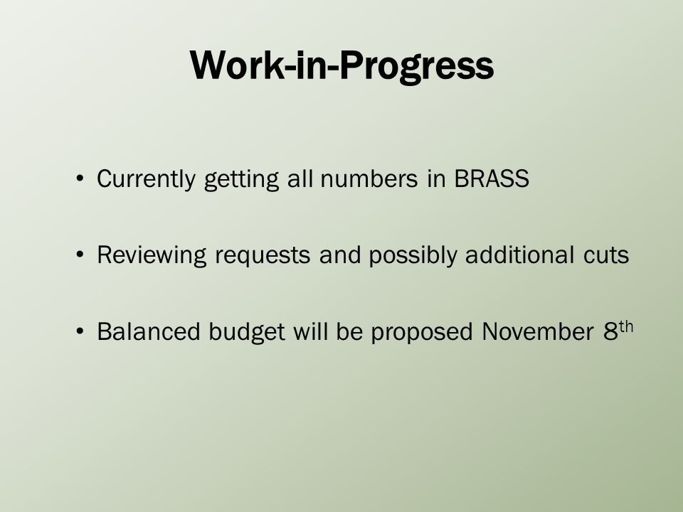 Work-in-Progress Currently getting all numbers in BRASS Reviewing requests and possibly additional cuts Balanced budget will be proposed November 8 th