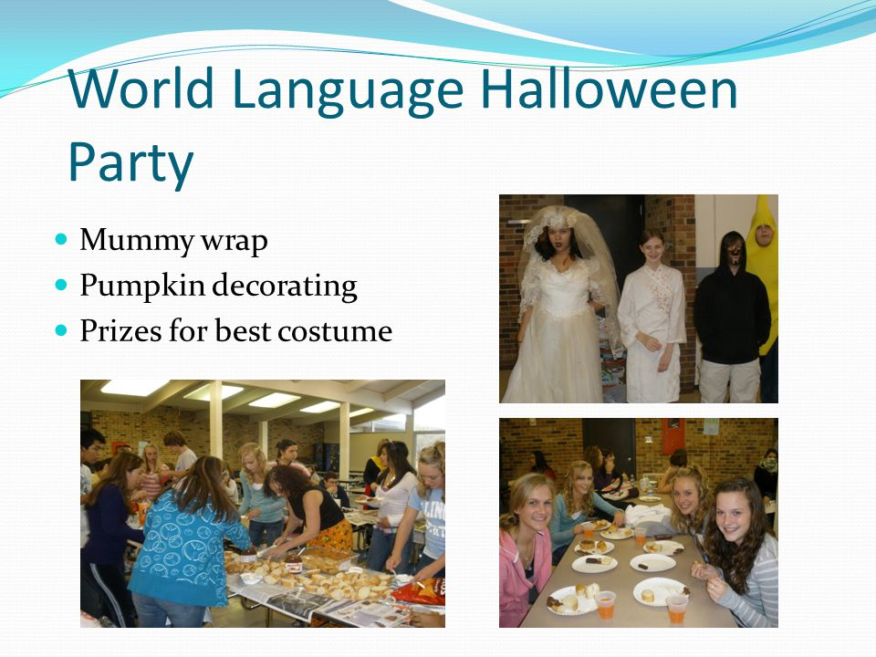 World Language Halloween Party Mummy wrap Pumpkin decorating Prizes for best costume