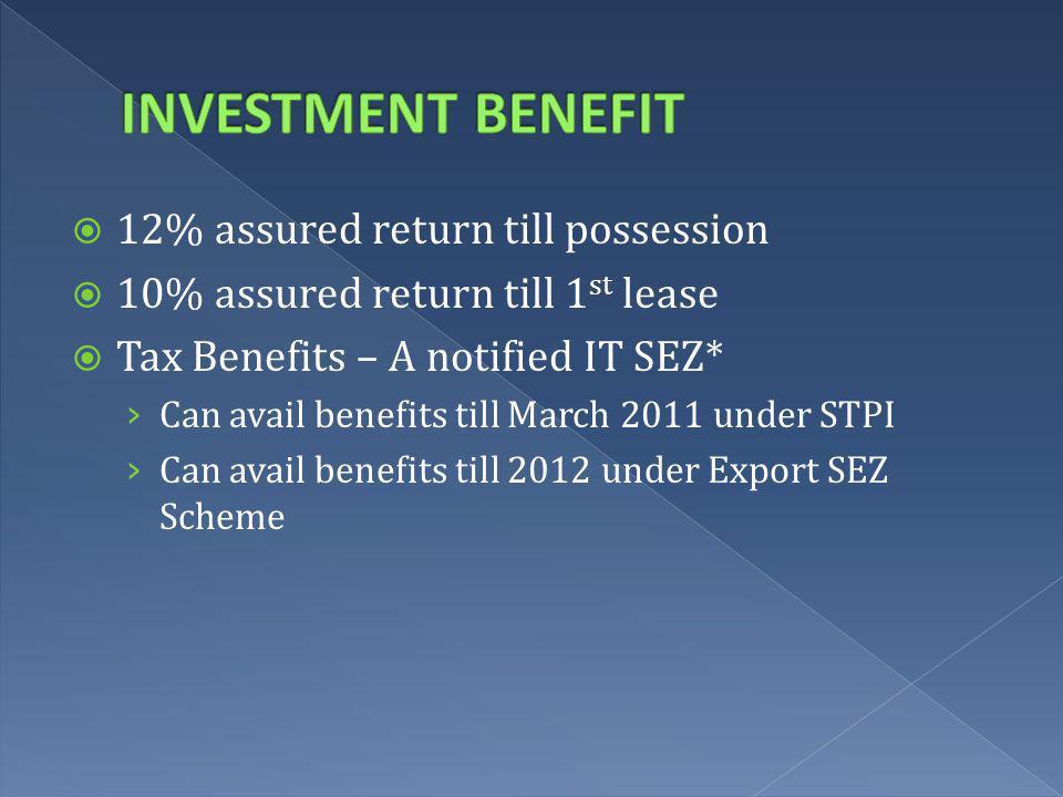 12% assured return till possession 10% assured return till 1 st lease Tax Benefits – A notified IT SEZ* Can avail benefits till March 2011 under STPI