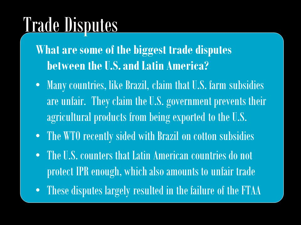 What are some of the biggest trade disputes between the U.S.