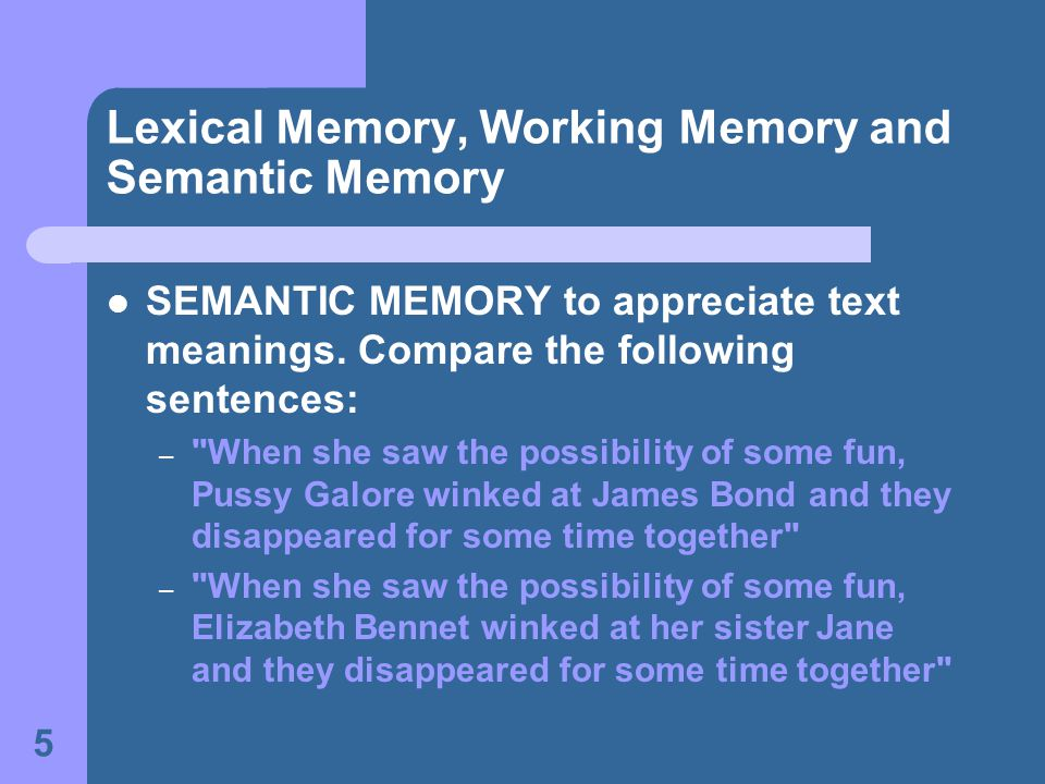 5 Lexical Memory, Working Memory and Semantic Memory SEMANTIC MEMORY to appreciate text meanings.