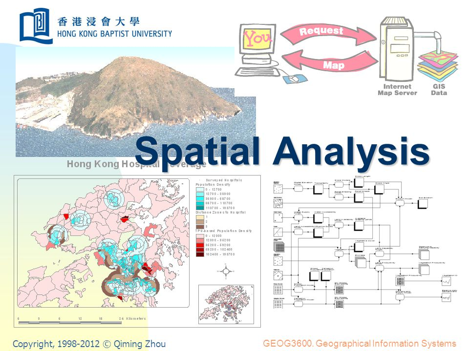 Spatial Analysis11 Organising geographical data for analysis Data layers A data layer consists of a set of logically related geographical features and their attributes Representations of a data layer Raster grid, overlay (grid cells) Vector coverage (point, line, polygon)