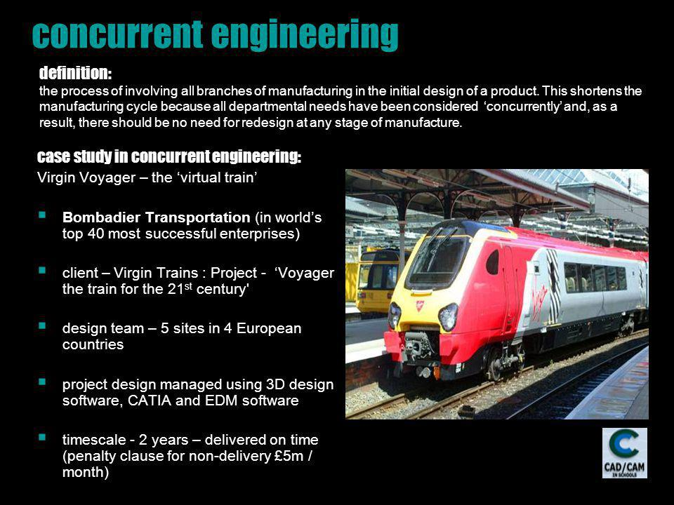 concurrent engineering case study in concurrent engineering: Virgin Voyager – the virtual train Bombadier Transportation (in worlds top 40 most succes