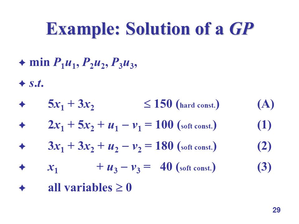 29 Example: Solution of a GP min P 1 u 1, P 2 u 2, P 3 u 3, s.t.