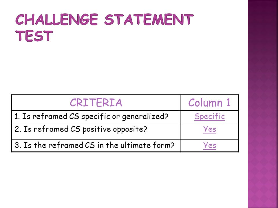 CRITERIAColumn 1 1. Is reframed CS specific or generalized Specific 2.