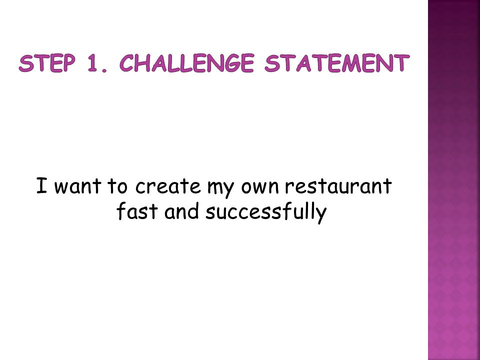 I want to create my own restaurant fast and successfully