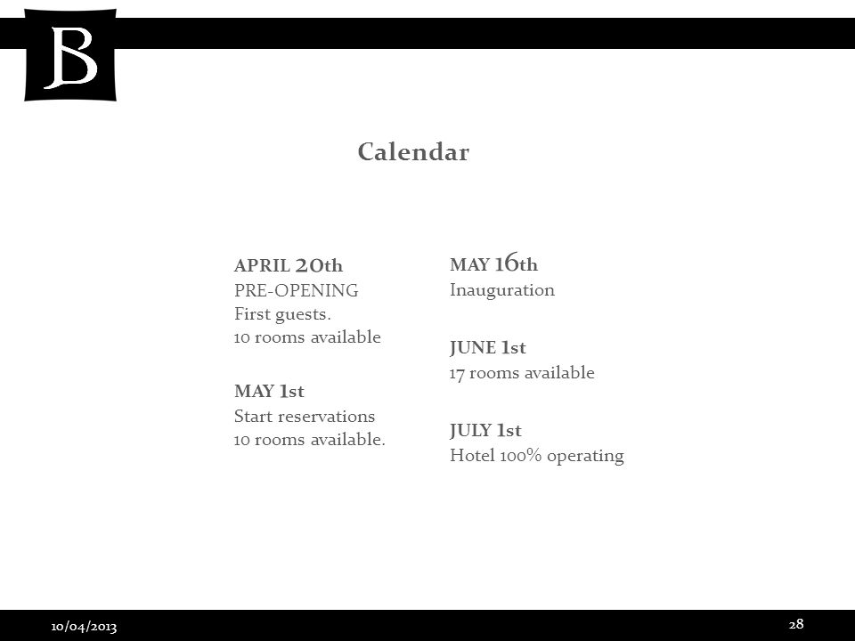 10/04/2013 28 Calendar APRIL 20 th PRE-OPENING First guests.