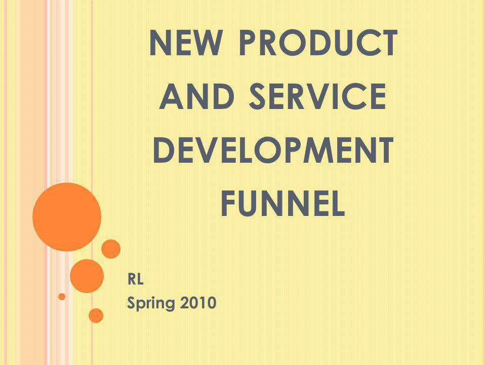 NEW PRODUCT AND SERVICE DEVELOPMENT FUNNEL RL Spring 2010