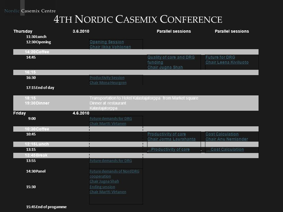 4 TH N ORDIC C ASEMIX C ONFERENCE Thursday Parallel sessions 11:30Lunch 12:30Opening Opening Session Chair Ilkka Vohlonen 14:20Coffee 14:45 Quality of care and DRG funding Chair Jugna Shah Future for DRG Chair Leena Kiviluoto 16:15 16:30 Productivity Session Chair Mona Heurgren 17:15End of day 18:15 Transportation to Hotel Kalastajatorppa from Market square 19:30DinnerDinner at restaurant Kalastajatorppa Friday :00 Future demands for DRG Chair Martti Virtanen 10:30Coffee 10:45 Productivity of care Chair Jorma Laurahanta Cost Calculation Chair Anu Nemlander 12:15Lunch 13:15 … Productivity of care… Productivity of care …Cost Calculation…Cost Calculation 13:45Break 13:55 Future demands for DRG 14:30PanelFuture demands of NordDRG cooperation Chair Jugna Shah 15:30 Ending session Chair Martti Virtanen 15:45End of progamme