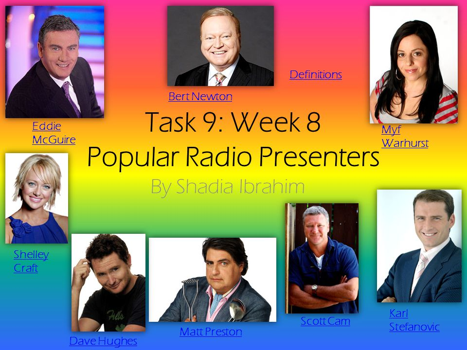 Task 9: Week 8 Popular Radio Presenters By Shadia Ibrahim Eddie McGuire Myf Warhurst Shelley Craft Matt Preston Dave Hughes Bert Newton Karl Stefanovic Scott Cam Definitions